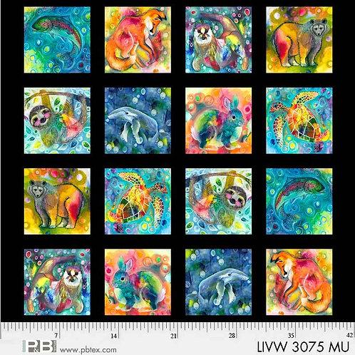 PB Textiles 8 Living Wild Animals 45cm Panel Quilt Fabric