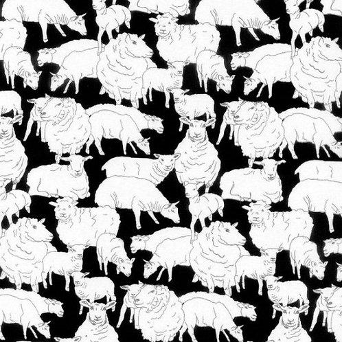Nutex Kiwiana Sheepish 89220 Col1 Black Quilt Fabric