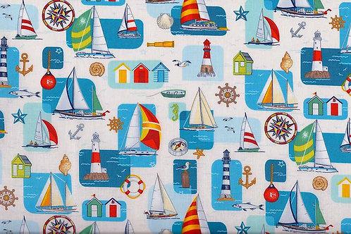 Makower Sea Multi Design Col6 Quilt Fabric