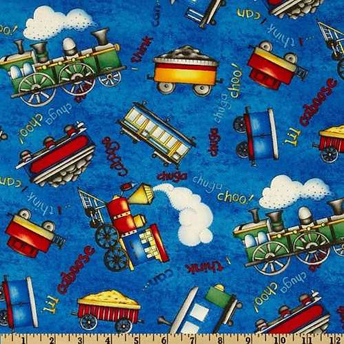 Wilmington Prints Riding the Rails Blue Train Toss Quilt Fabric 67185-447W
