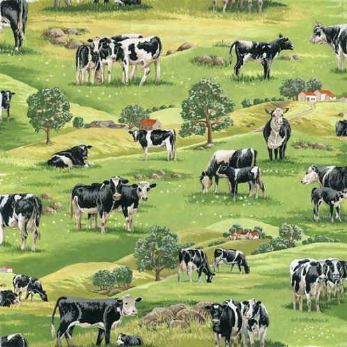Nutex In The Country Farmyard Cows and Calves Novelty Quilt Fabric