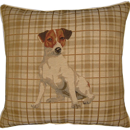 Jack Russell Light Check Tapestry Cushion Cover