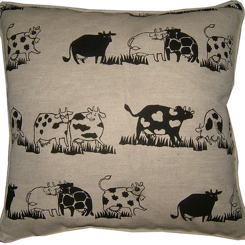 Cows in a Row Linen Cushion Cover