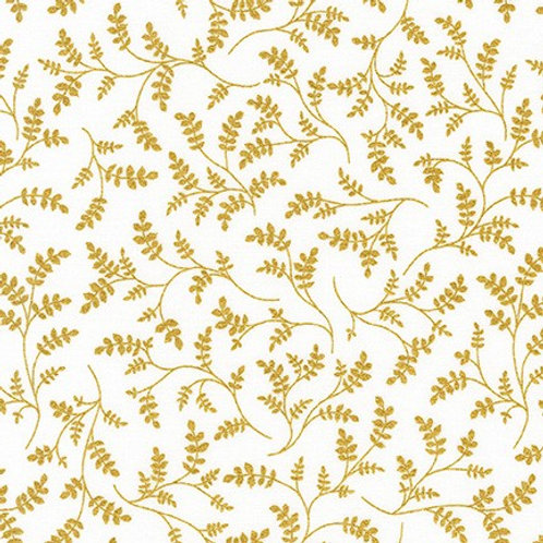 Robert Kaufman Whisper Metallics White Leaves 19221-1 Quilt Fabric