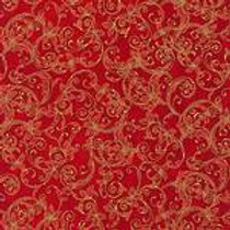 Robert Kaufman Winters Grandeur Crimson SRKM-15887-91 Metallic Quilt Fabric