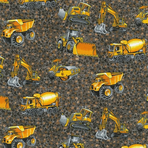 Nutex Novelty Trucks & Diggers Scatter Brown Quilt Fabric 80110 Col2