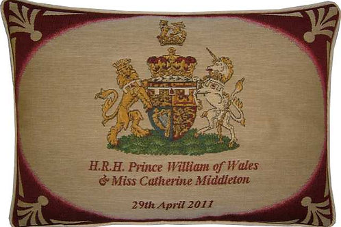 Royal Wedding William and Kate Crest Oblong Tapestry Cushion Cover