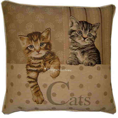 Two Kittens Paw Left Tapestry Cushion Cover