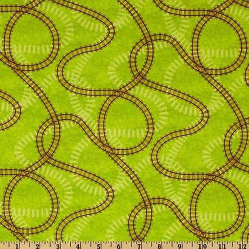Wilmington Prints Riding the Rails Green Train Tracks Quilt Fabric 67187-729W