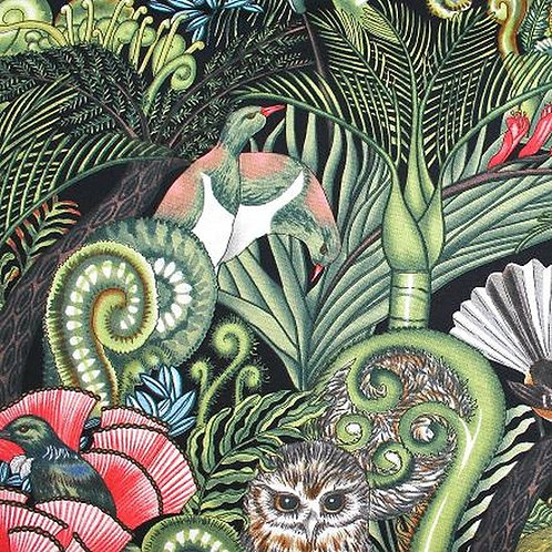 Hoffman Kiwiana Forest Birds Onyx Quilt Fabric