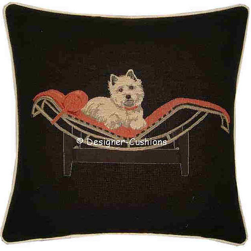 Westie West Highland Terrier on Red Chaise Longue Tapestry Cushion Cover