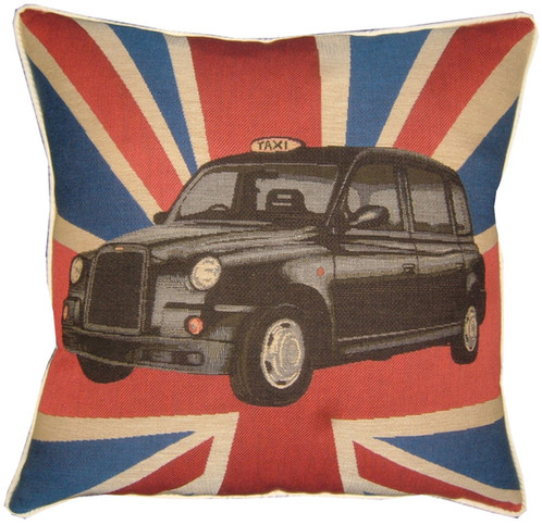 Union Jack London Black Taxi Cab Tapestry Cushion Cover
