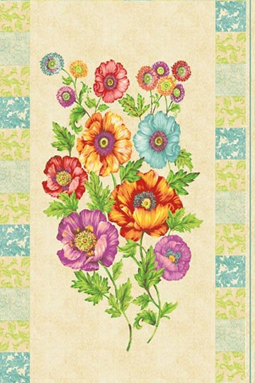 Northcott Poppy Love Floral Quilt Panel Fabric 60cm x 110cm / 24""