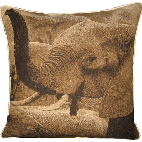 Savannah Elephant Sepia Tapestry Cushion Cover