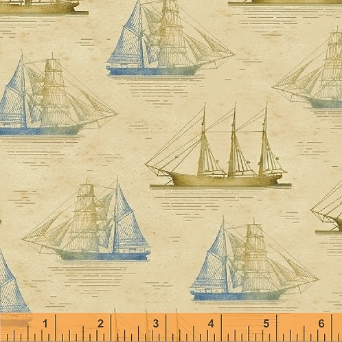 Windham Tall Ships Tan Sailing Ships 42268-2 Quilt Fabric
