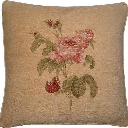 Rose Chenille Tapestry Cushion Cover