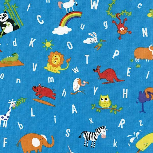 Nutex Novelty ABC Zoo Allover Quilt Fabric