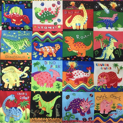 Nutex Novelty Dinosaur Dance Squares Quilt Fabric