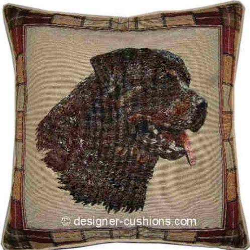 Rottweiler Rottie Check Tapestry Cushion Cover