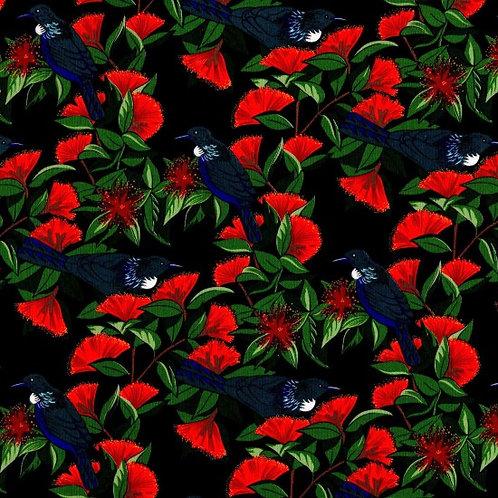 Nutex Kiwiana Tui & Pohutakawa Navy Quilt Fabric 86040 Col2