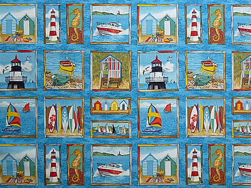 Makower Sea Card Making Squares Quilt Fabric