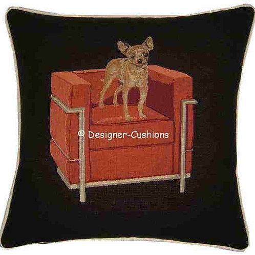 Chihuahua in Red Cube Chair Tapestry Cushion Cover