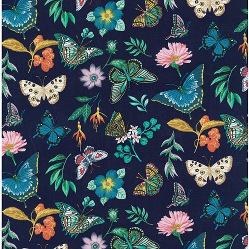 Nutex Vibrant Flight Navy Butterfly Quilt Fabric 89900 Col1