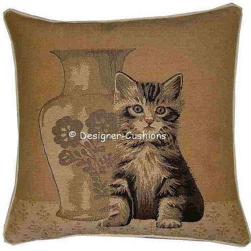 Tabby Kitten by Vase Tapestry Cushion Cover