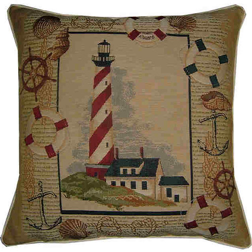 Lighthouse & House Tapestry Cushion Cover