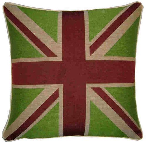 Union Jack Lime Green Flag Tapestry Cushion Cover