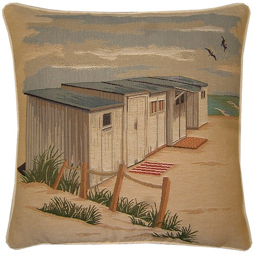 Beach Huts Tapestry Cushion Cover