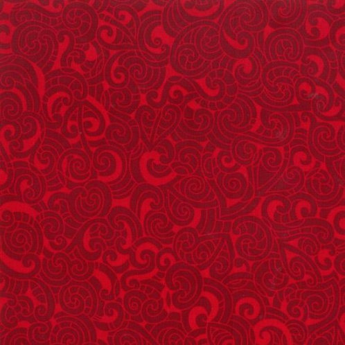 Nutex Kiwiana Moko Scarlet Red Quilt Fabric 85200 Col9