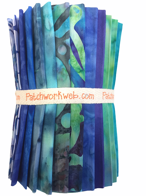 "Batik ""Blue Lagoon"" Designer Roll - 20 x 5"" x WOF"