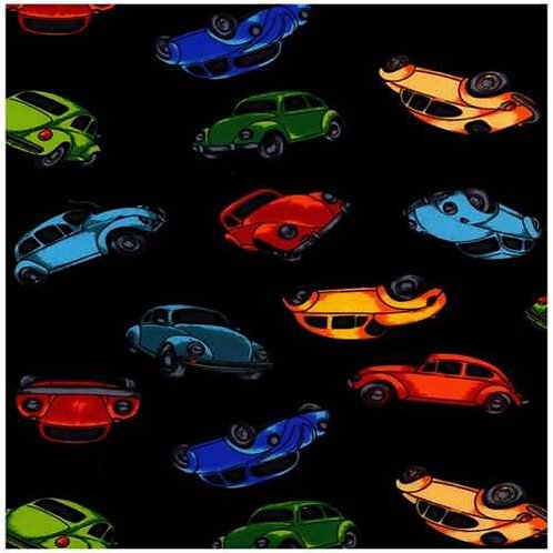 Nutex Novelty Herbie VW Beetles on Black Background Quilt Fabric