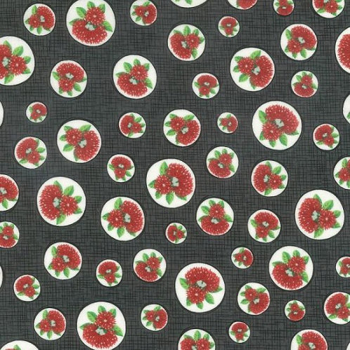 Nutex Kiwiana Spot the Pohutukawa Circles 88310 Col3 Quilt Fabric