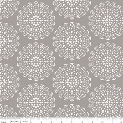 Riley Blake Daisy Days Grey & White Doilies C6281-GRAY Quilt Fabric
