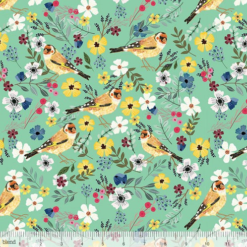 "Blend ""Birdie"" Sea Background Birds Quilt Fabric 78510 Col8"