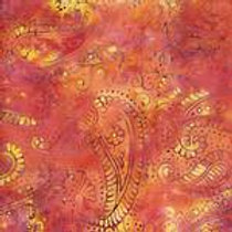 Island Batiks 111505190 Flower Fields - Orange Paisley Quilt Fabric