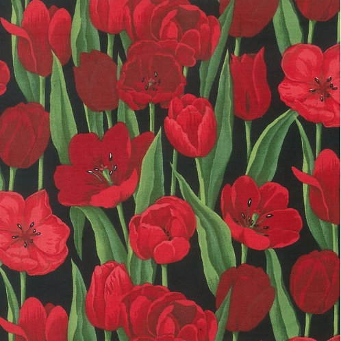 Nutex Novelty Red Tulips Quilt Fabric 89160 Col3