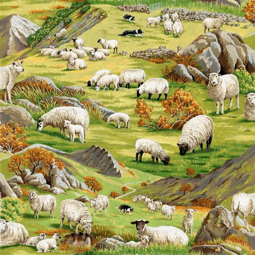 Nutex In The Country Farmyard Lambs & Sheep Novelty Quilt Fabric