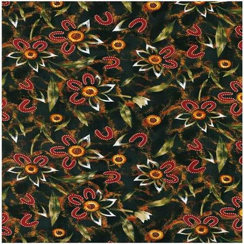 Nutex Australiana Girraween Flower Charcoal Quilt Fabric Col 3