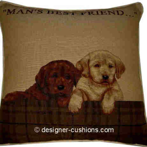 Labrador Puppies 'Man's Best Friend' Tapestry Cushion Cover