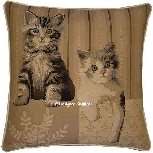 Two Kittens Paw Right Tapestry Cushion Cover