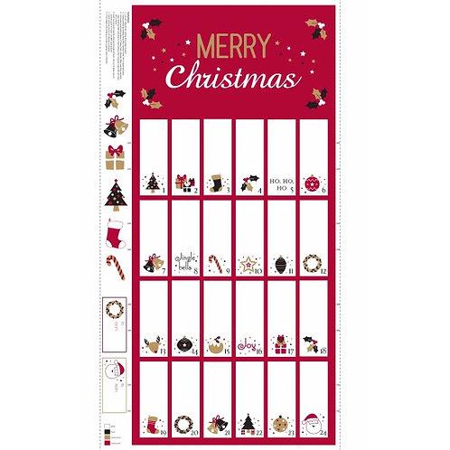 "Nutex Red & White Advent Calendar 80380 Col 1 60cm / 24"" panel"