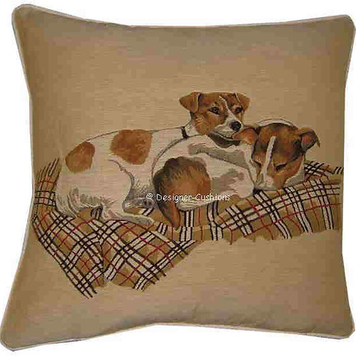 Pair Jack Russells on Blanket Tapestry Cushion Cover