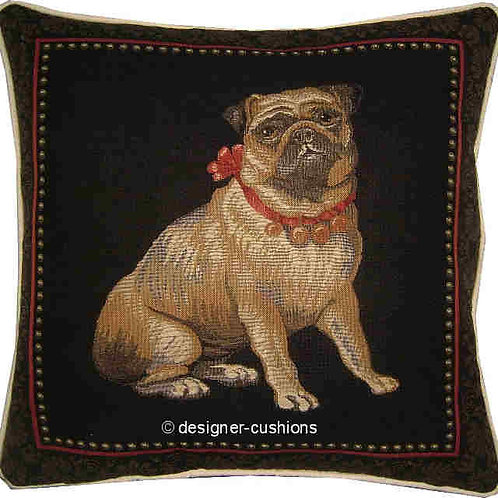 Pug with a Red Bow Tapestry Cushion Cover