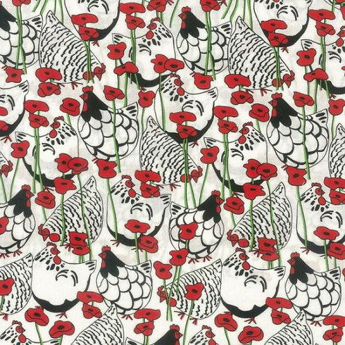 Nutex Novelty Happy Hens & Poppies Quilt Fabric