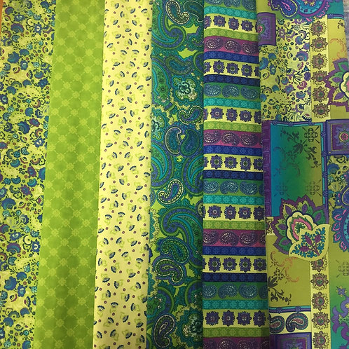**WEEKLY SPECIAL** 6 Indian Paisley Fat Quarter Pack Quilt Fa