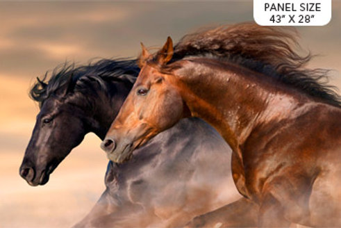 "Northcott ""Maverick"" 2 Horse Panel 72cm DP23613-12 Quilt Fabric"
