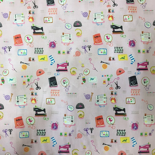 Timeless Treasures Pink Sewing Equipment Quilt Fabric